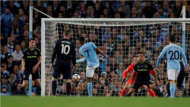 """Soccer Football - Premier League - Manchester City vs Everton - Manchester, Britain - August 21, 2017   Manchester City's Raheem Sterling scores their first goal    REUTERS/Phil Noble    EDITORIAL USE ONLY. No use with unauthorized audio, video, data, fixture lists, club/league logos or """"live"""" services. Online in-match use limited to 45 images, no video emulation. No use in betting, games or single club/league/player publications. Please contact your account representative for further details."""