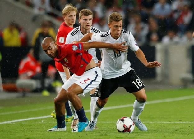 Soccer Football - 2018 World Cup Qualifications - Europe - Germany vs Norway - Stuttgart, Germany - September 4, 2017  Norway's Haitam Aleesami in action with Germany's Joshua Kimmich    REUTERS/Michaela Rehle