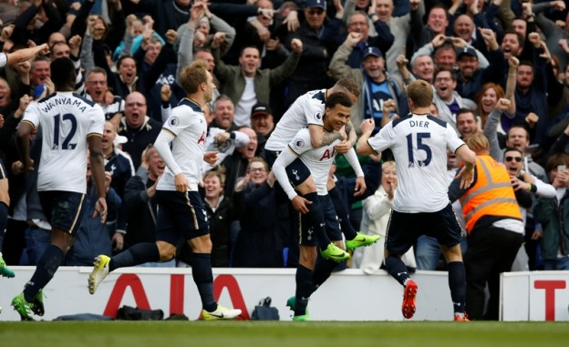 """Britain Football Soccer - Tottenham Hotspur v Arsenal - Premier League - White Hart Lane - 30/4/17 Tottenham's Dele Alli celebrates scoring their first goal with teammates Action Images via Reuters / Paul Childs Livepic EDITORIAL USE ONLY. No use with unauthorized audio, video, data, fixture lists, club/league logos or """"live"""" services. Online in-match use limited to 45 images, no video emulation. No use in betting, games or single club/league/player publications.  Please contact your account representative for further details."""